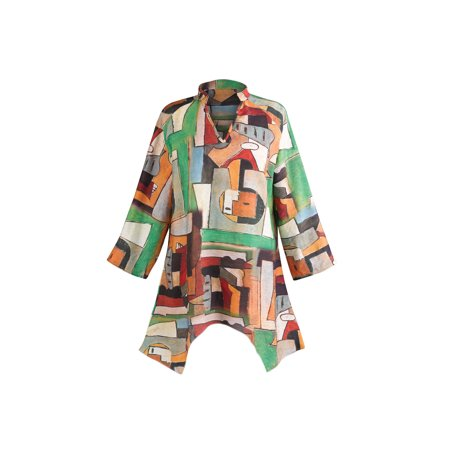 Women's Cubist Print Tunic Top - 3/4 Sleeve Butterfly Hem V-Neck Shirt ()