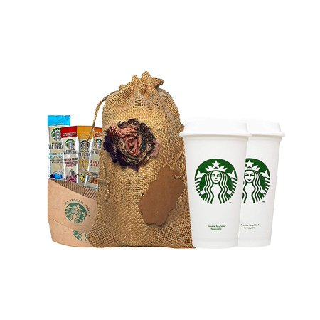 Starbucks Holiday Gift Bundle Travel Coffee Reusable Recyclable Cups, Lids, Sleeves, Via Instant Coffee