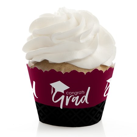 Maroon Grad - Best is Yet to Come - Burgundy Graduation Party Cupcake Wrappers - Set of 12 (Halloween Cupcake Wrappers Uk)