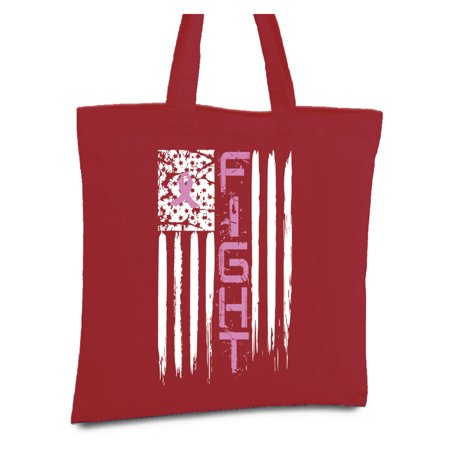 Awkward Styles Fight Breast Cancer Canvas Tote Bag Breast Cancer Awareness Bags Pink Ribbon Reusable Shopping Bag Cancer Support Flag Shopper USA Flag Cancer Reusable Grocery Bag Cancer Survivor Gifts