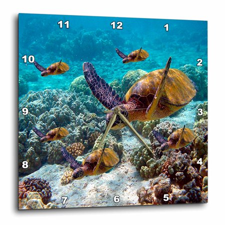 3dRose Sea Turtles - Wall Clock, 15 by