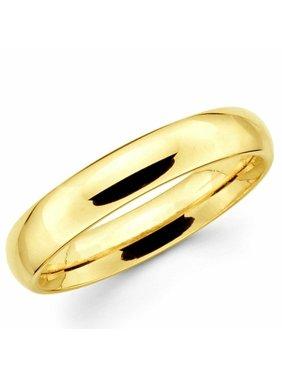 Solid 10k Ladies Yellow Gold Shiny Plain Wedding Band Regular Engagement Regular Fit Ring (Multiple Sizes)