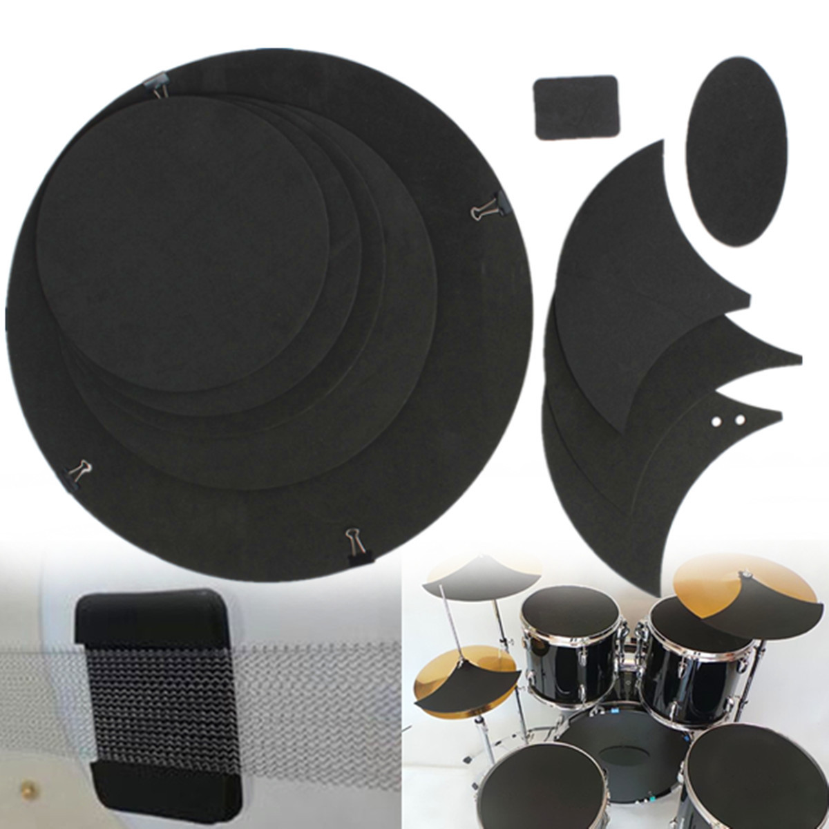 Grtsunsea 10Pcs Bass Snare Tom Sound off / Quiet Drum Mute Silencer Drumming Practice Pad Set Black