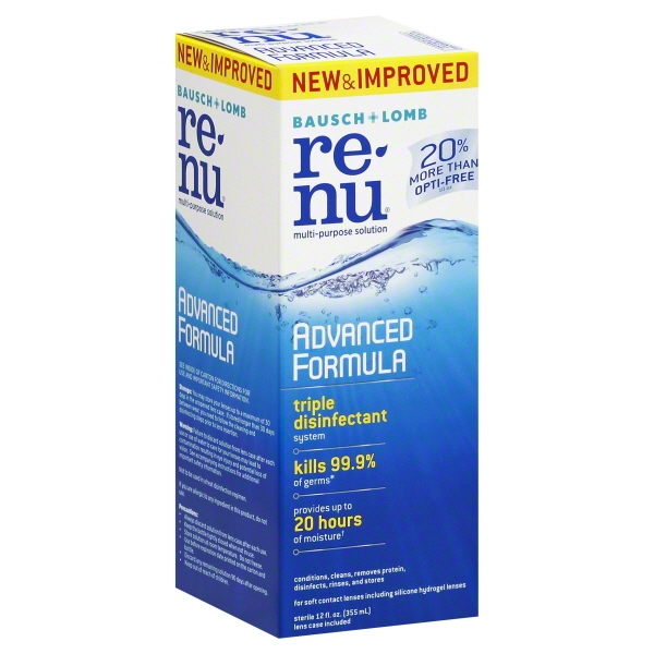 Bausch + Lomb ReNu Advanced Triple Disinfect Formula Multi-Purpose Eye Contact Lens Solution, 12 fl oz