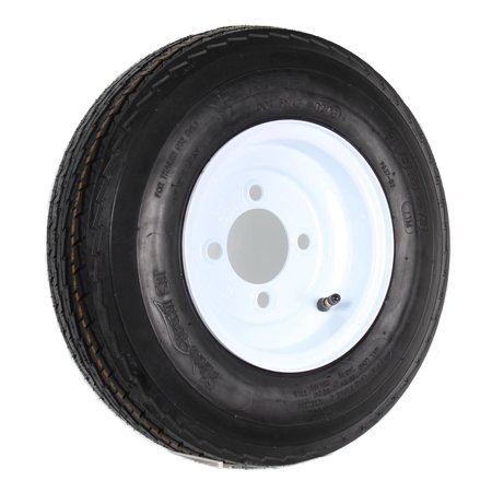 Trailer Tire On Rim 4.80-8 480-8 4.80 X 8 8 in. LRB 4 Lug Hole Bolt Wheel White