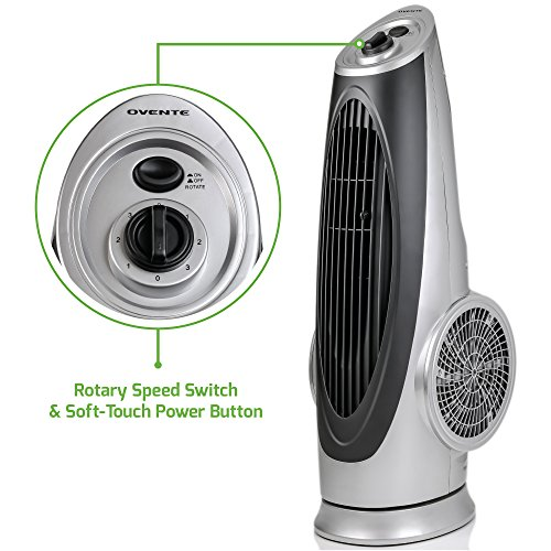 Ovente Cool-Breeze Tower Fan with Oscillating Function, 100-Watts, Includes Rotary Speed Switch and Soft-Touch Power Button (TF87S - Tower Fan)