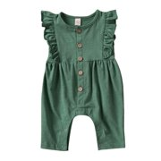 Newborn Infant Baby Girl Clothes Ruffle Romper Jumpsuit Sleeve Solid Outfit
