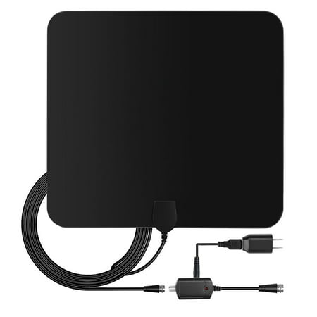 Hdtv Antenna   Flat Indoor Digital Amplified Antenna With Detachable Long Range Signal Boosting Amplifier Up To 50 Miles   Hd Tv Channels With High Performance 13Ft Coax Cable And Uhf Vhf Atsc
