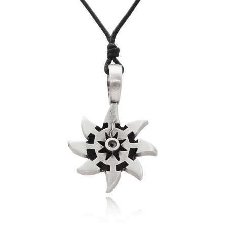 Buddhist Wheel of Life Silver Pewter Charm Necklace Pendant Jewelry With Cotton Cord Wheel Charm Necklace