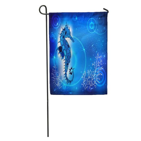 KDAGR Blue Abstract Painting Sea Horse of Fish in The Depths and Air Bubbles Tattoo Cartoon Doodle Garden Flag Decorative Flag House Banner 28x40 inch - Tattoos Of Fish