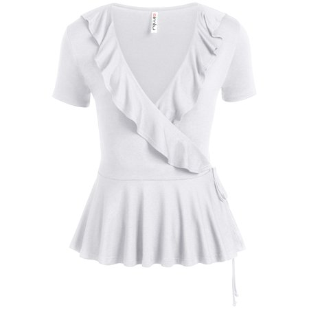 - Womens Deep V Neck Short Sleeve Wrap Tie Top Peplum Ruffle Shirt - USA