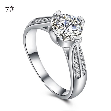Flower Crystal Wedding Ring For Women Jewelry Accessories Rose Gold Gold - Enamel Crystal Flower Ring