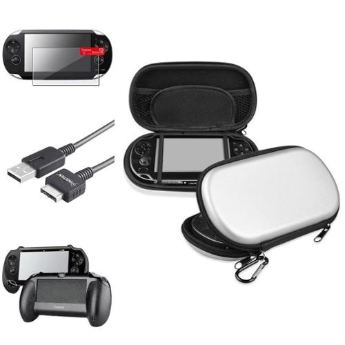 Insten Black Hand Grip+Screen Protector+Silver EVA Case+USB Cable For Sony PS Vita PSV