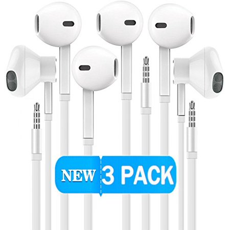 Certified Gadgets Headphones [3 PACK] Sport Earphones with Mic Earbuds Stereo & Noise Cancelling Isolating Headset for Apple iPhone iPod iPad Samsung Galaxy LG HTC Other 3.5MM Devices (White)