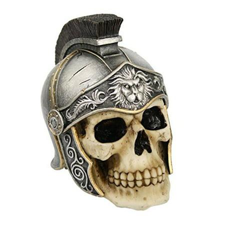 5 Inch Roman Helmet Warrior Skeleton Skull Resin Statue Figurine - Skull Warrior