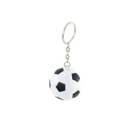Black White Football Shape Sport Stress Ball Key Ring Phone -