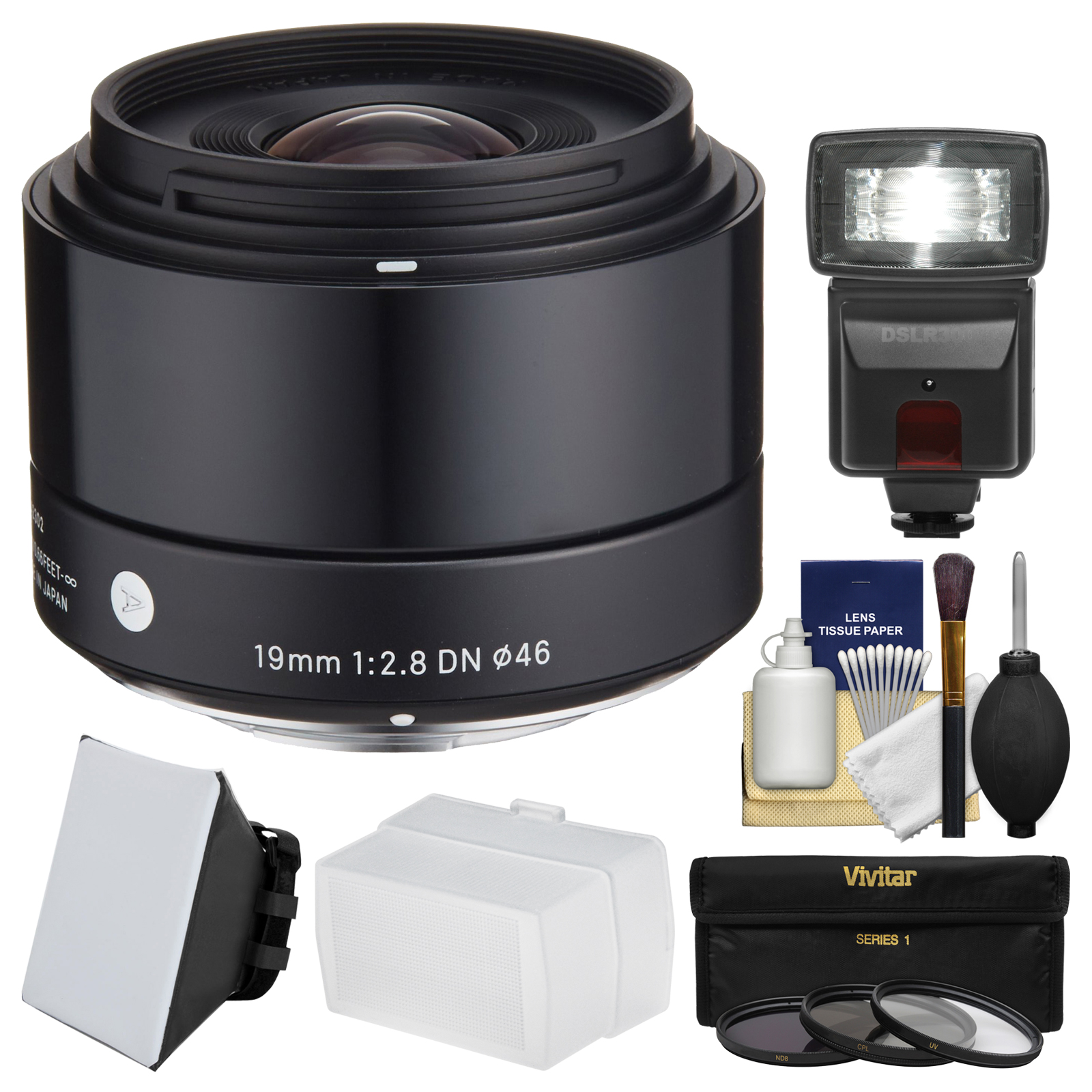 Sigma 19mm f/2.8 EX DN Art Lens with 3 UV/CPL/ND8 Filters + Flash + Diffuser + Soft Box + Kit for Olympus / Panasonic Micro 4/3 Digital Cameras