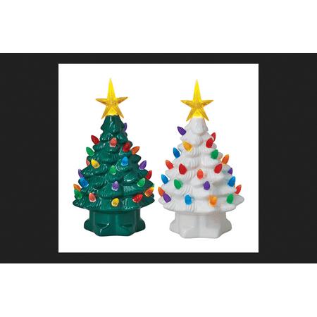 Mr. Christmas Nostalogic Christmas Tree Green/White Porcelain 7 in. Tall