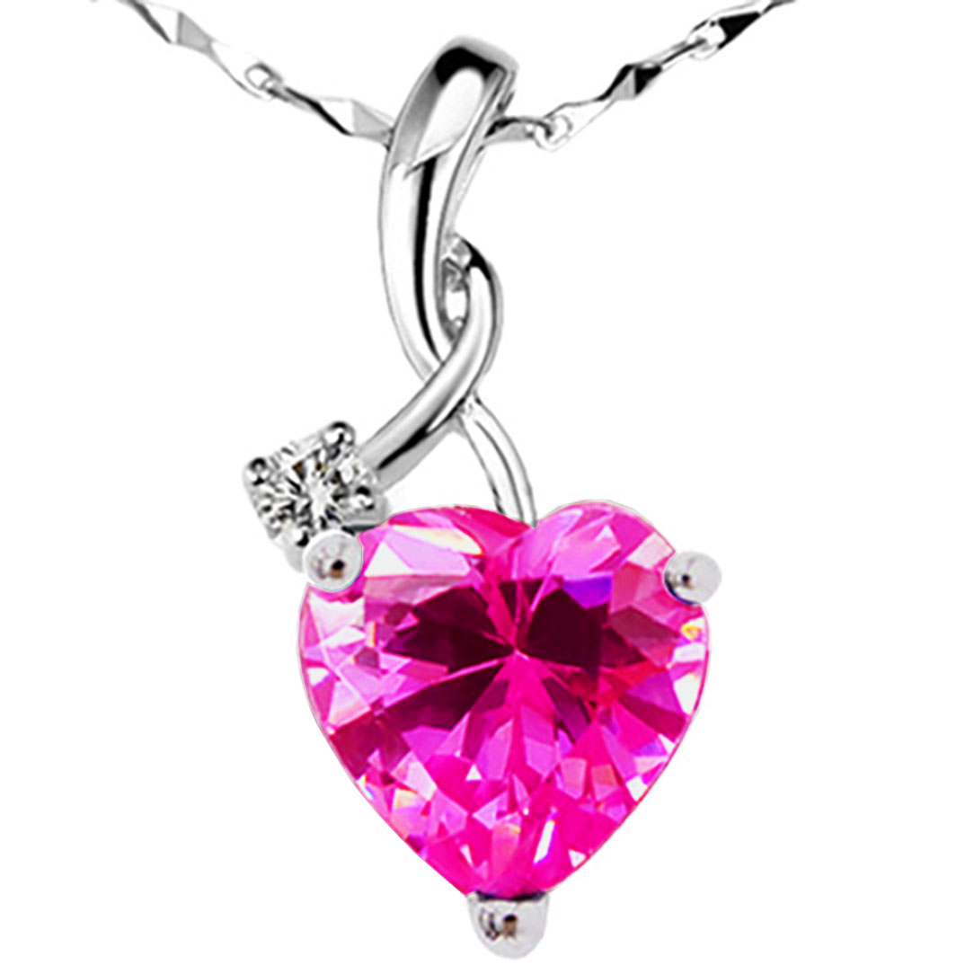 Devuggo 4.03 Carat TCW Heart Shaped Gemstone Created Pink Sapphire 925 Sterling Silver Necklace Pendant with free... by