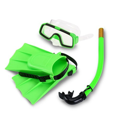 Kids Swimming Diving Snorkel Eyeglasses Set,Silicone Fins +Snorkel Scuba Eyeglasses + Mask Snorkel Silicone Set for 8-12.5 US Foot Size