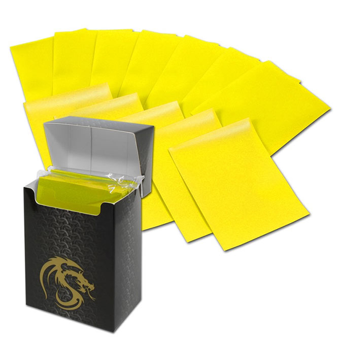 BCW Deck Guards 80-Count Double Matte Card Sleeves with Box - Yellow (Standard)