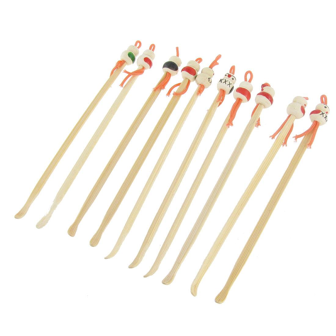 Unique Bargains Unique Bargains Bamboo Ear Pick Spoon Curette Ear Wax Remover Cartoon Doll Decor 10 Pc
