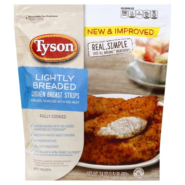 Tyson® Lightly Breaded Chicken Breast Strips 24 oz. Bag