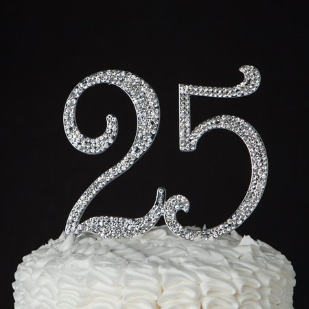 25 Cake Topper for 25th Birthday or Anniversary, Crystal Rhinestone Party Decoration Supplies (Silver) (25th Anniversary Favors)