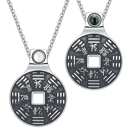 - Love Couple Amulet Yin Yang BaGua Forces of Nature Lucky Coin Simulated Onyx Simulated Cats Eye Necklaces