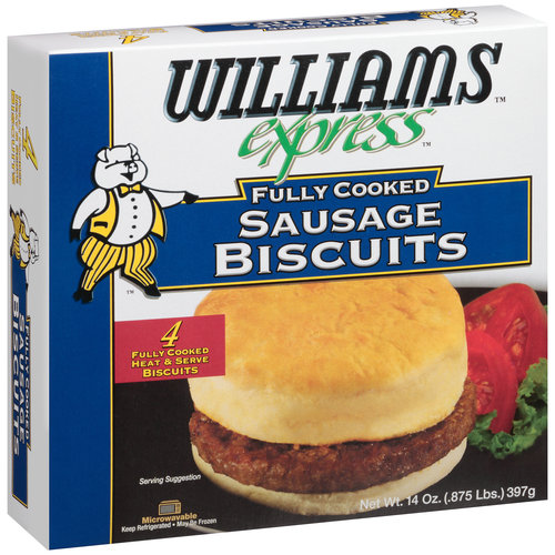 Williams Express Fully Cooked Sausage Biscuits, 4 count, 14 oz