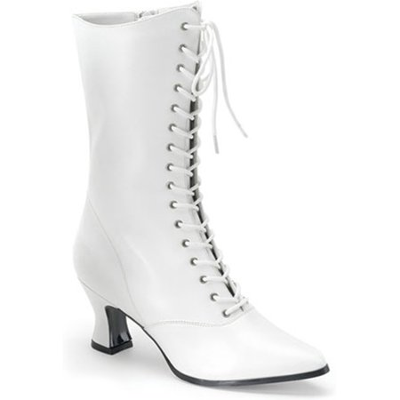 2 3/4 Inch Sexy White Victorian Ankle Boot Lace Up Costume Boots