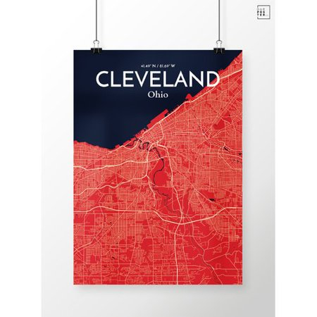 Ourposter Com Cleveland City Map Graphic Art Print Poster In Nautical