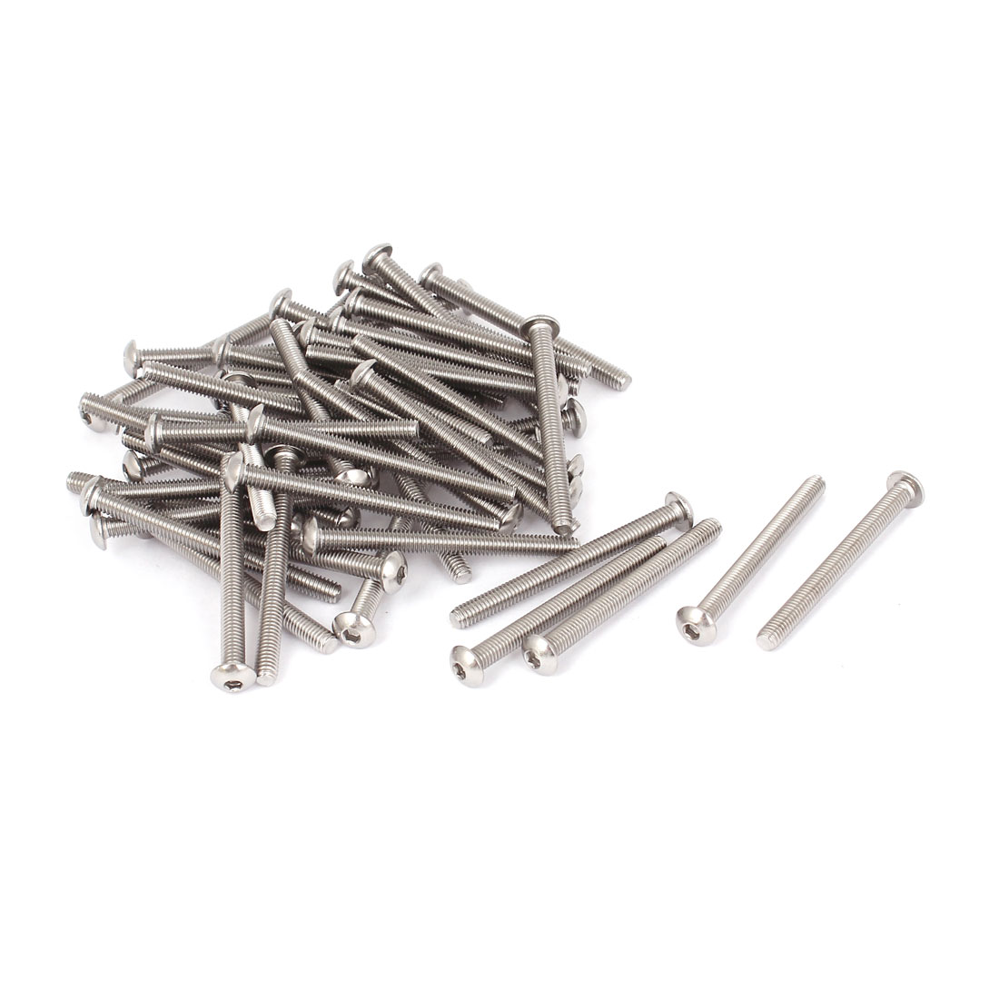 50 Pcs M4x45mm Stainless Steel Hex Socket Button Head Bolts Screws 47mm Long