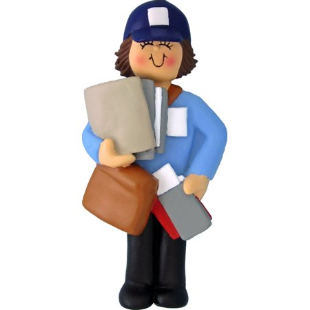 Letter Carrier Female Brown Personalized  Christmas Ornament DO-IT-YOURSELF](Letter Ornaments)