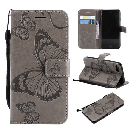 - iPhone 7/ 8 Wallet case, Allytech Pretty Retro Embossed Butterfly Flower Design PU Leather Book Style Wallet Flip Case Cover for Apple iPhone 7 and iPhone 8, Gray