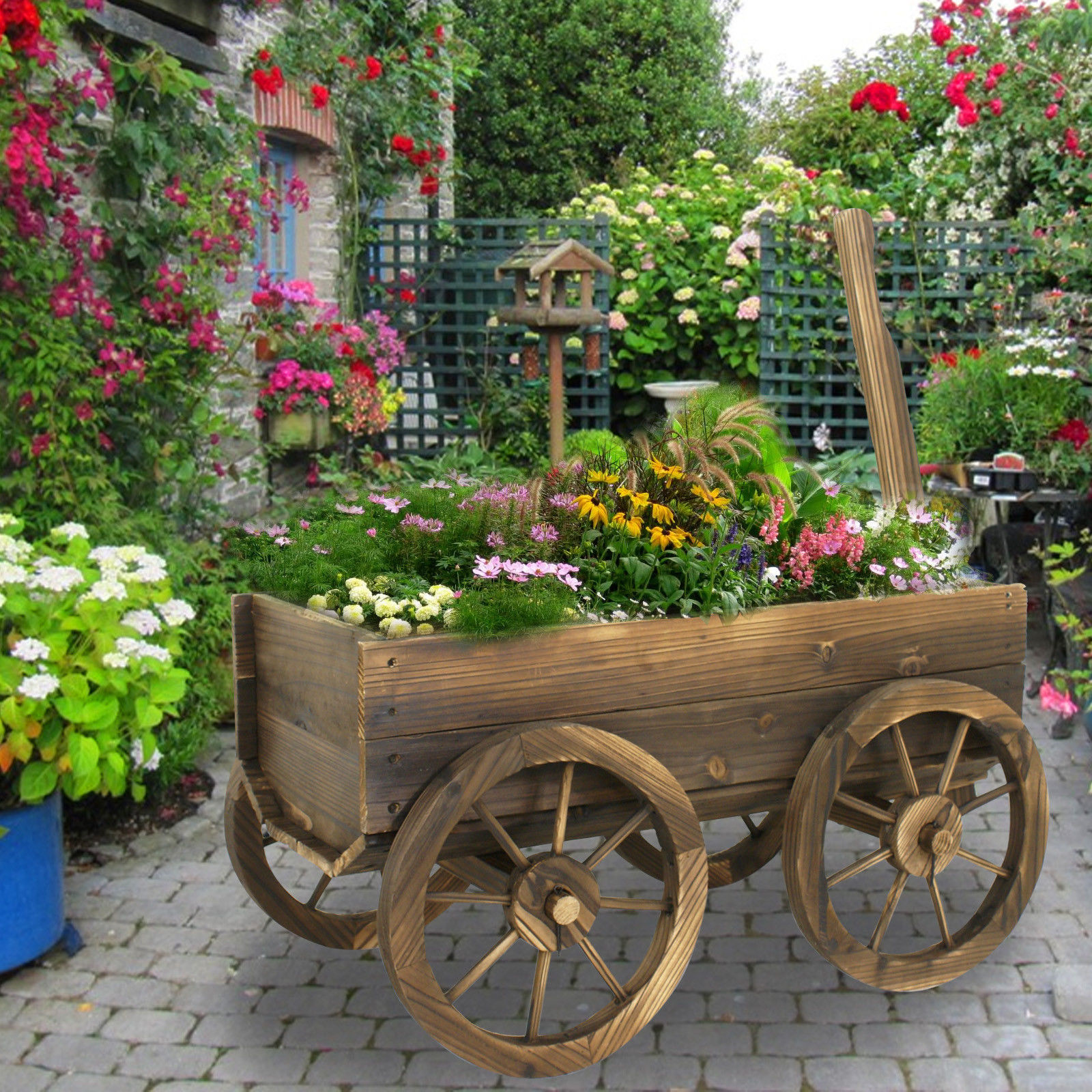 Zeny Garden Wood Wagon Flower Planter Pot Stand With Wheels Home Outdoor  Decor