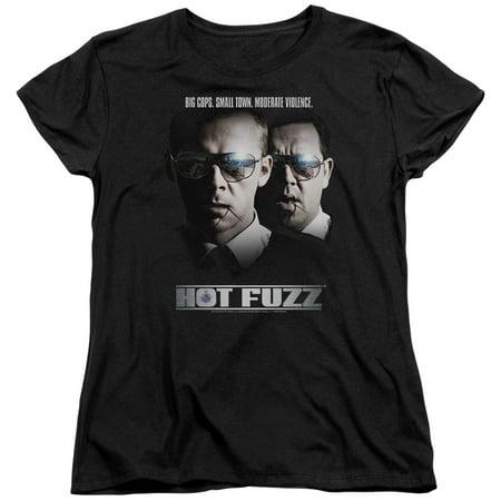 Hot Fuzz Crime Comedy Buddy Cop Movie Big Cops Women's T-Shirt Tee (Hot Female Cops)