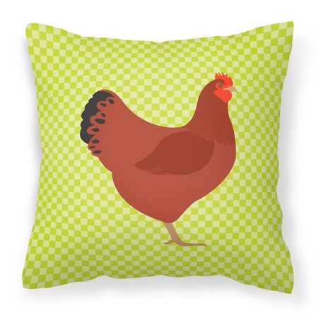 Carolines Treasures BB7669PW1414 New Hampshire Red Chicken Green Fabric Decorative Pillow, 14 x 14 in. - image 1 de 1