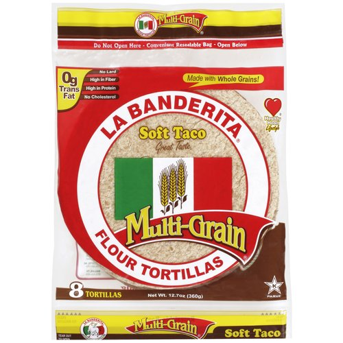 "La Banderita Multi Grain Flour 8"" Soft Taco Tortillas, 8 ct"