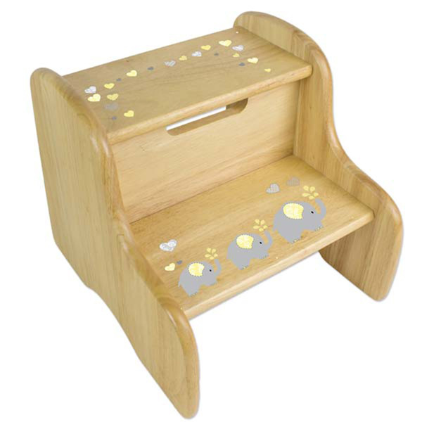 Personalized Yellow Elephants Wooden Two Step Stool