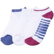Girls White Blue Dash Line 3 Pair Pack Low Cut Ankle Socks 9-11
