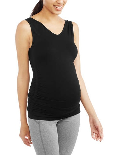 Labor of Love Maternity Ruched Reversible Scoop to V-Neck Seamless Tank - Available in Plus Sizes