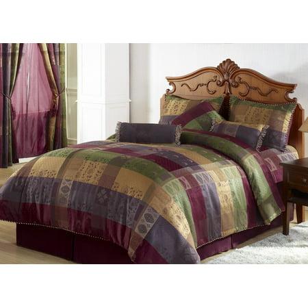 Chezmoi Collection Gitano 7-Piece Jacquard Floral Patchwork Comforter (Jacquard Floral Comforter)