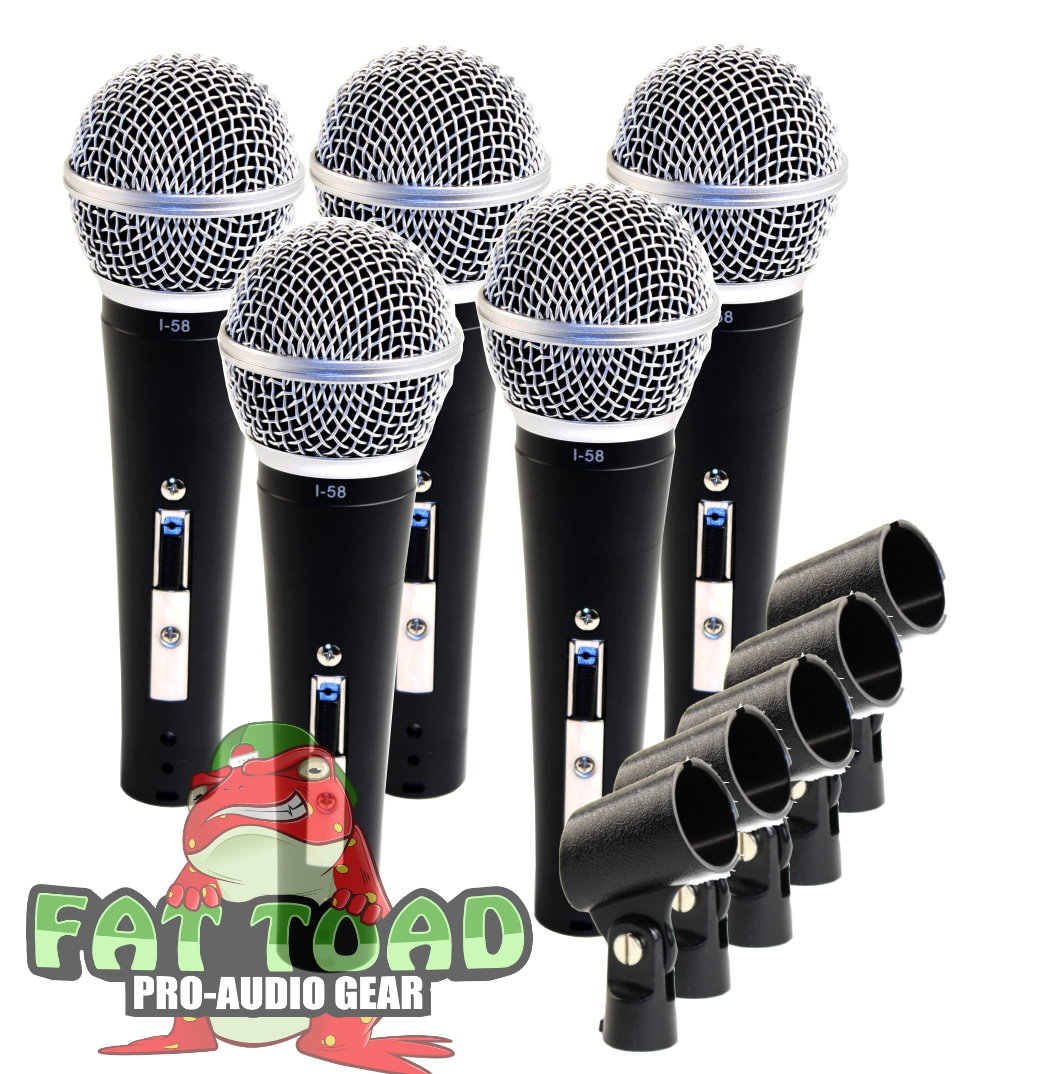 Studio Recording Microphones with Clips (5 Pack) by Fat Toad Vocal Handheld, Unidirectional Mic Professional Cardioid Dynamic Singing Microphone Designed for Music Stage Performances or PA DJ Karaoke