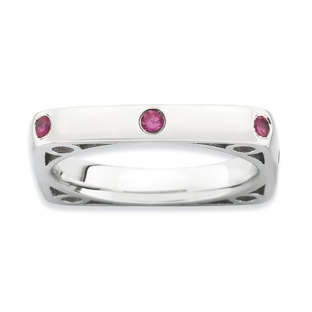 Roy Rose Jewelry Sterling Silver Stackable Expressions Polished Created Ruby Square Ring   Size 10