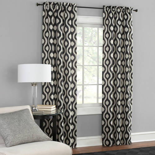 Mainstays Thermal Wave Print Room Darkening Window Curtain Panel Pair by Mainstays