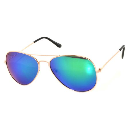Aviator Style Sunglasses Gold Metal Frame Blue Green Mirror Lens OWL - Make Your Own Sunglasses