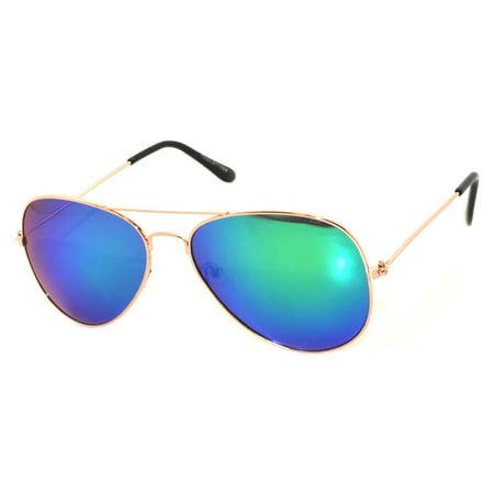 Aviator Style Sunglasses Gold Metal Frame Blue Green Mirror Lens (Dark Aviator Sunglasses)