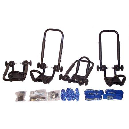Folding J-style Kayak Rack Automobile Roof Top Rack by Pack'em Racks - 2 Sets - Satin Black (Folding Kayak Rack)