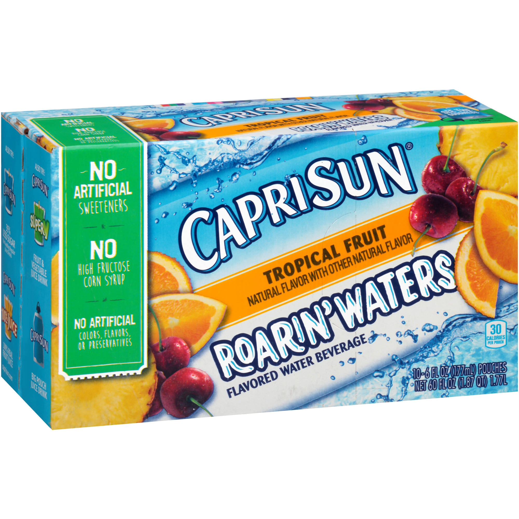 Capri Sun Roarin' Waters Tropical Fruit Flavored Water Beverage, 6 fl oz, 10 count